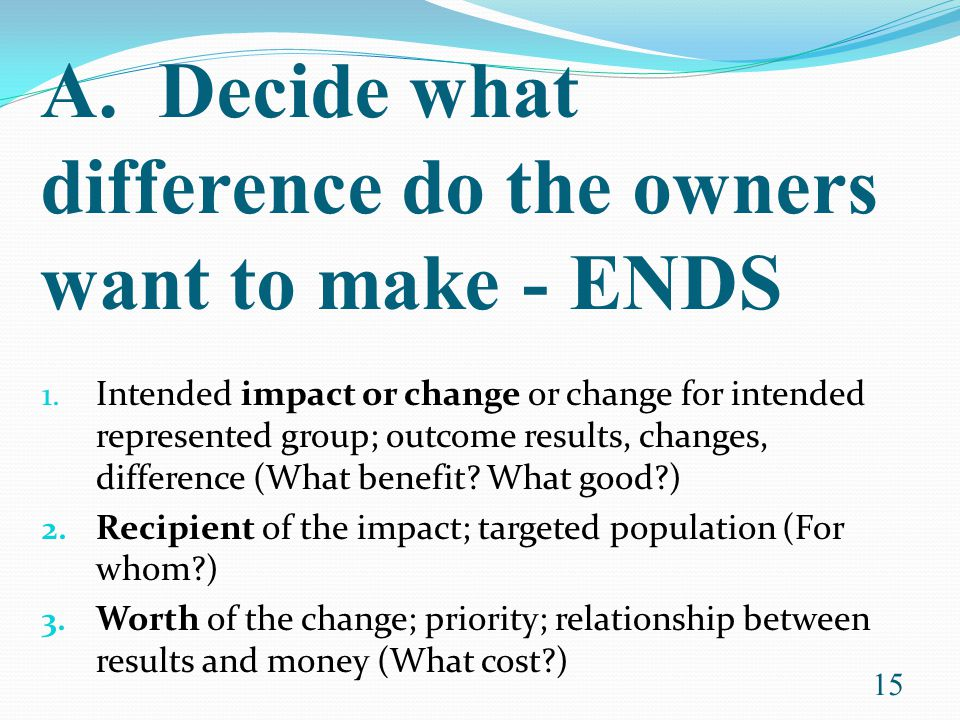 A. Decide what difference do the owners want to make - ENDS