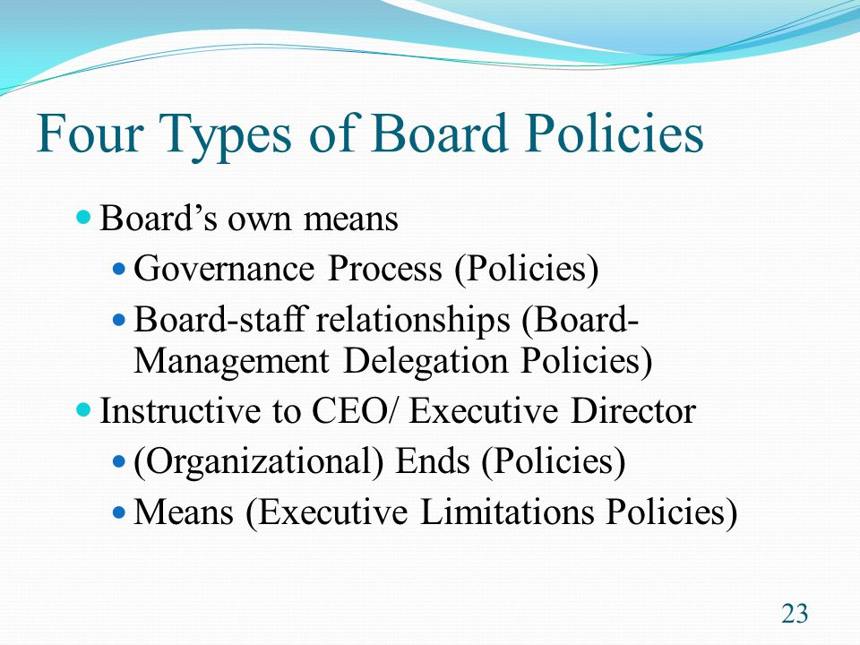Four Types of Board Policies