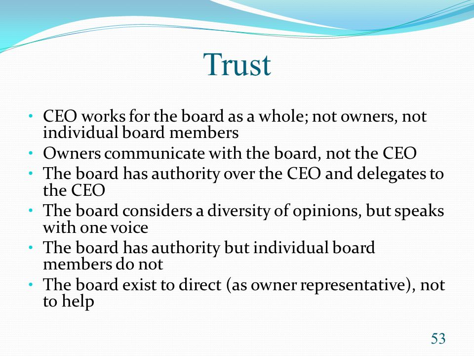 Trust CEO works for the board as a whole; not owners, not individual board members. Owners communicate with the board, not the CEO.