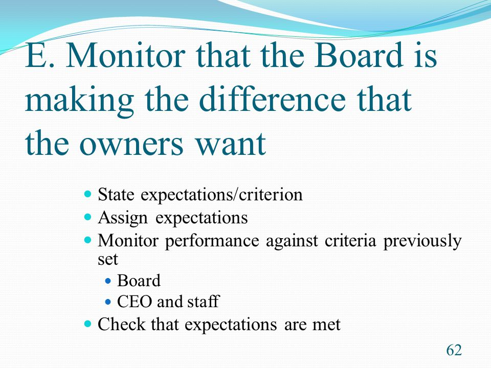 E. Monitor that the Board is making the difference that the owners want