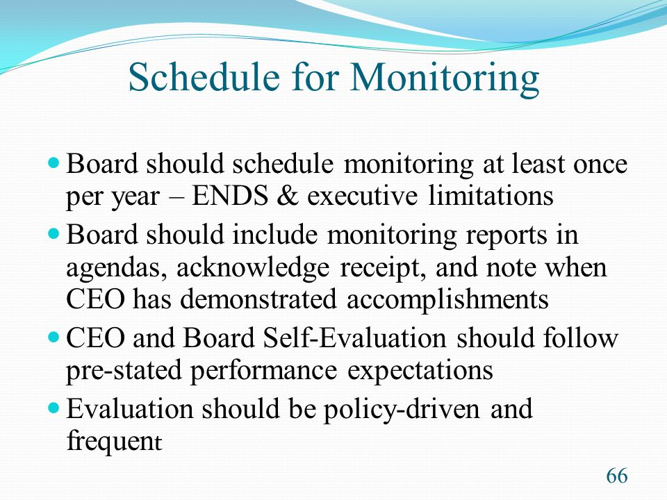 Schedule for Monitoring