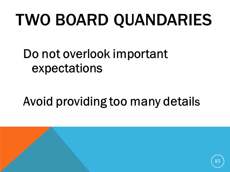 Two Board Quandaries Do not overlook important expectations Avoid providing too many details Notes by Mary E.