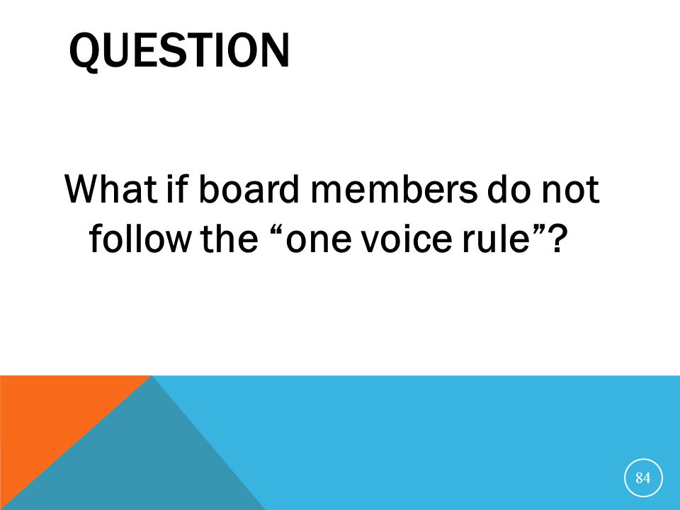 Question What if board members do not follow the one voice rule