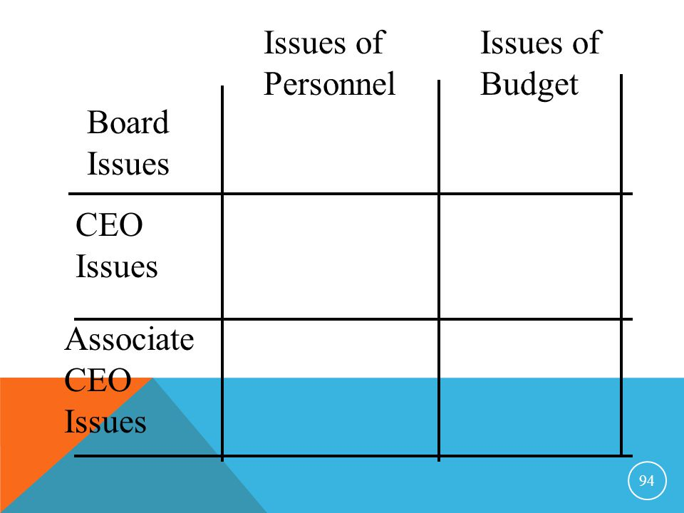 Issues of Personnel Issues of Budget Board Issues CEO Issues Associate