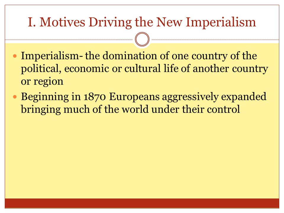 I. Motives Driving the New Imperialism