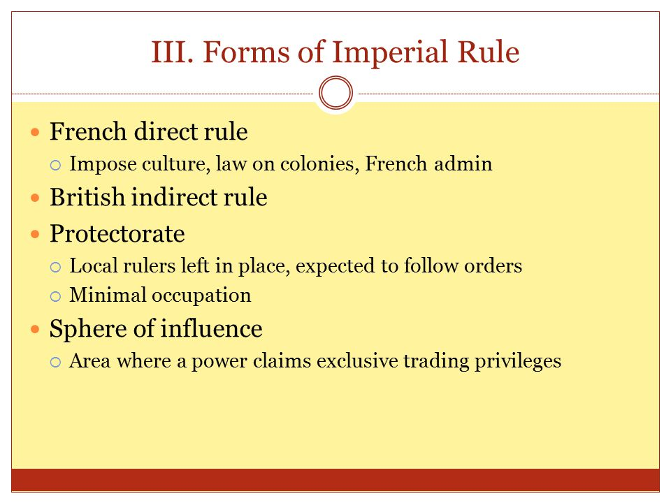 III. Forms of Imperial Rule