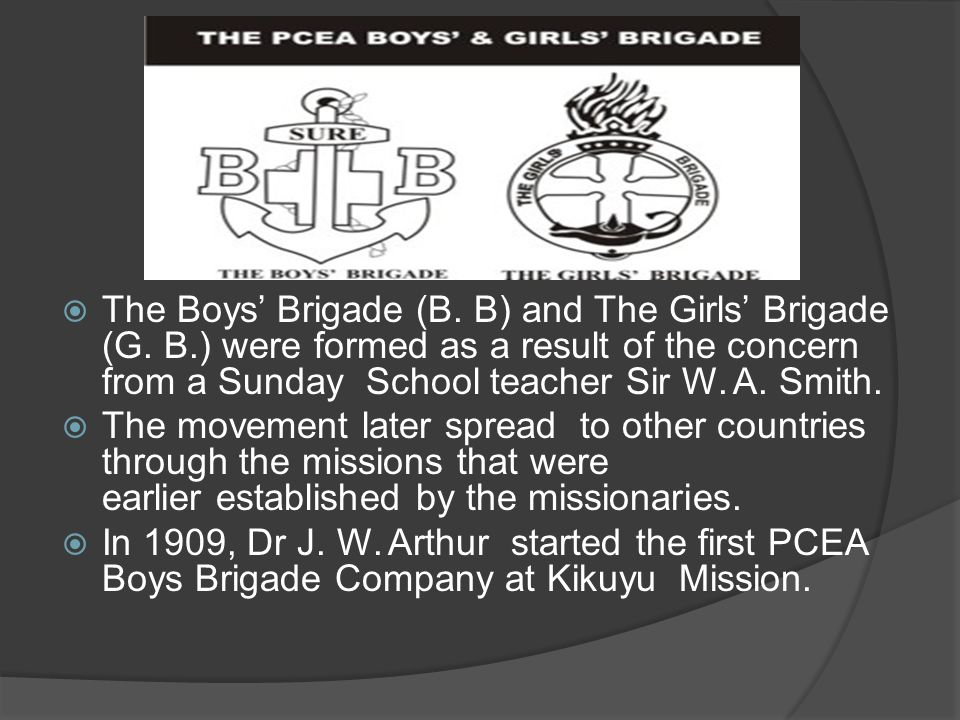The Boys' Brigade (B. B) and The Girls' Brigade (G. B