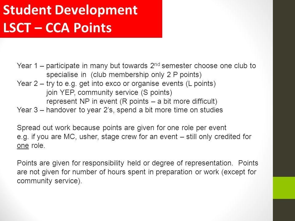 Student Development LSCT – CCA Points