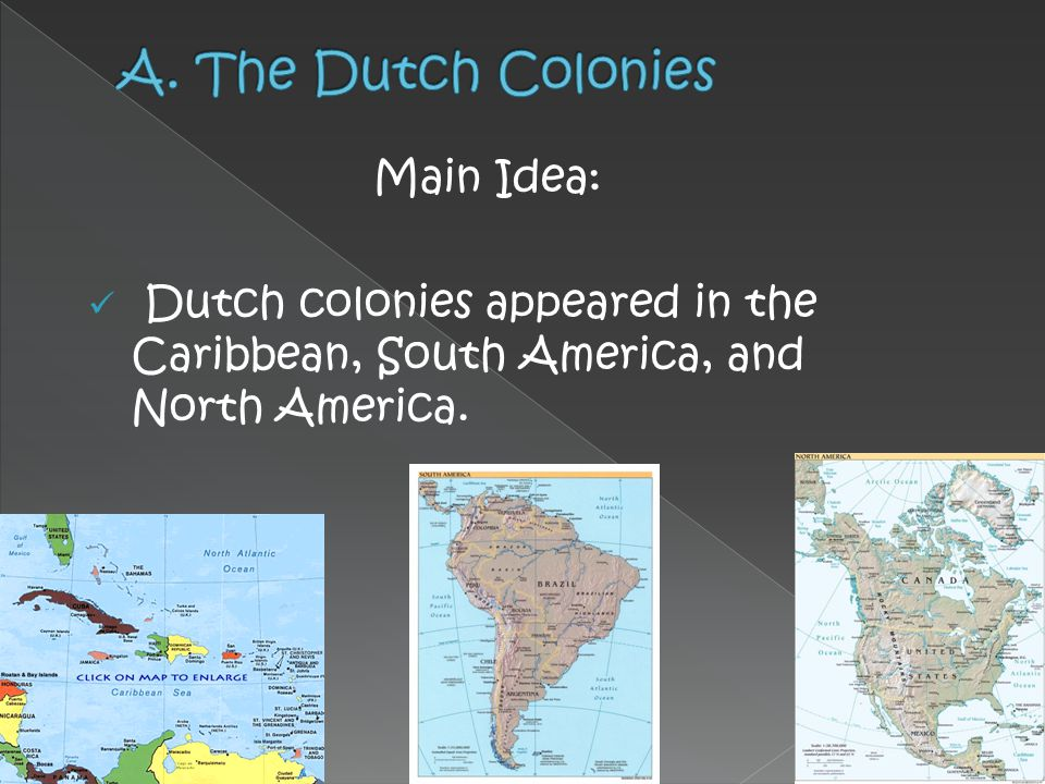 A. The Dutch Colonies Main Idea: