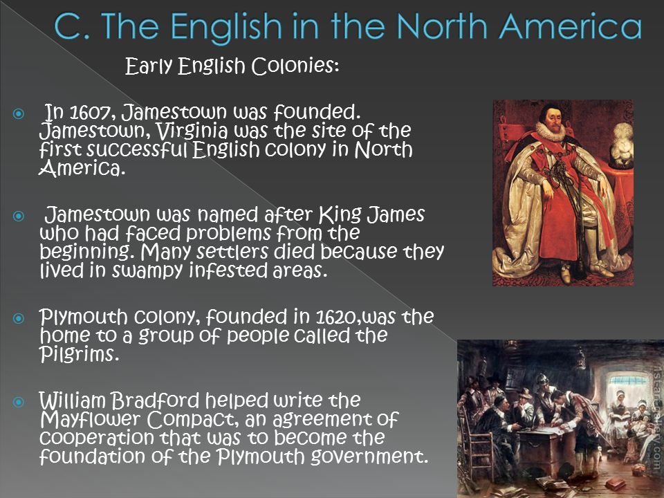 a history of the first english colonies in north america 13 colonies timeline timeline description: after sir walter raleigh decides that great britain should have an empire that rivals that of spain, he establishes the first english settlement on.