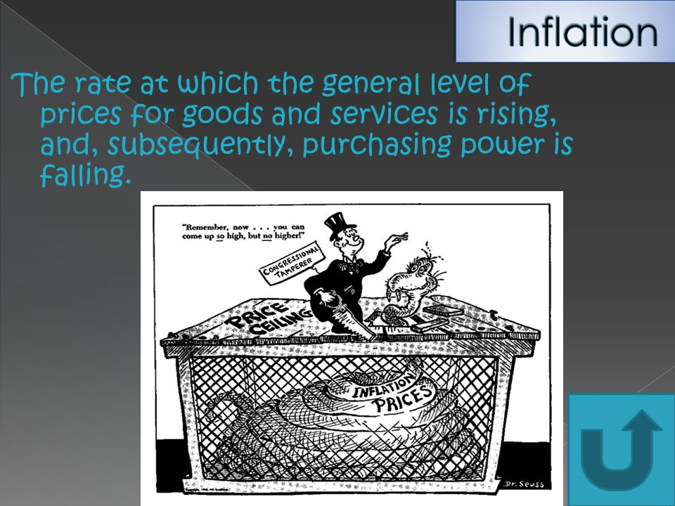 Inflation The rate at which the general level of prices for goods and services is rising, and, subsequently, purchasing power is falling.