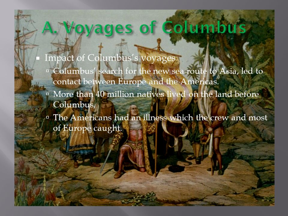 impact of columbus voyages on the What was even more impressive about these voyages was that they were done with hundreds of huge ships and tens of  (the size of columbus' ships eight.