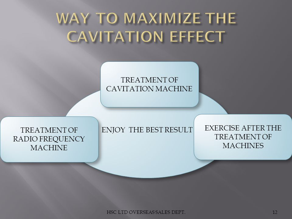 WAY TO MAXIMIZE THE CAVITATION EFFECT
