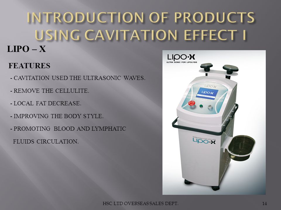 INTRODUCTION OF PRODUCTS USING CAVITATION EFFECT I