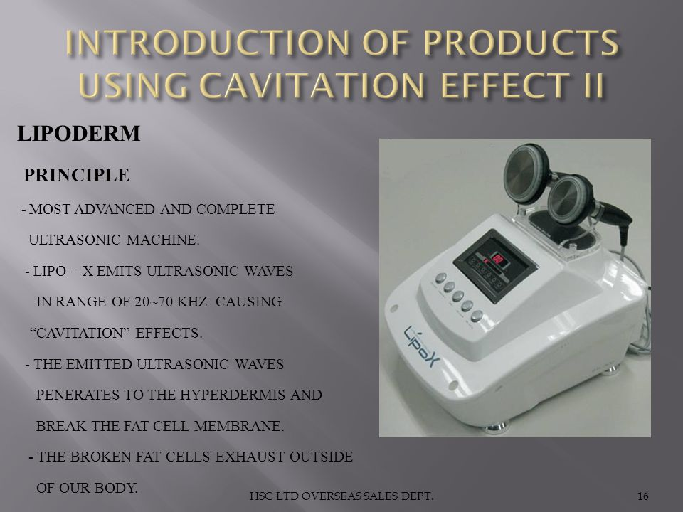 INTRODUCTION OF PRODUCTS USING CAVITATION EFFECT II