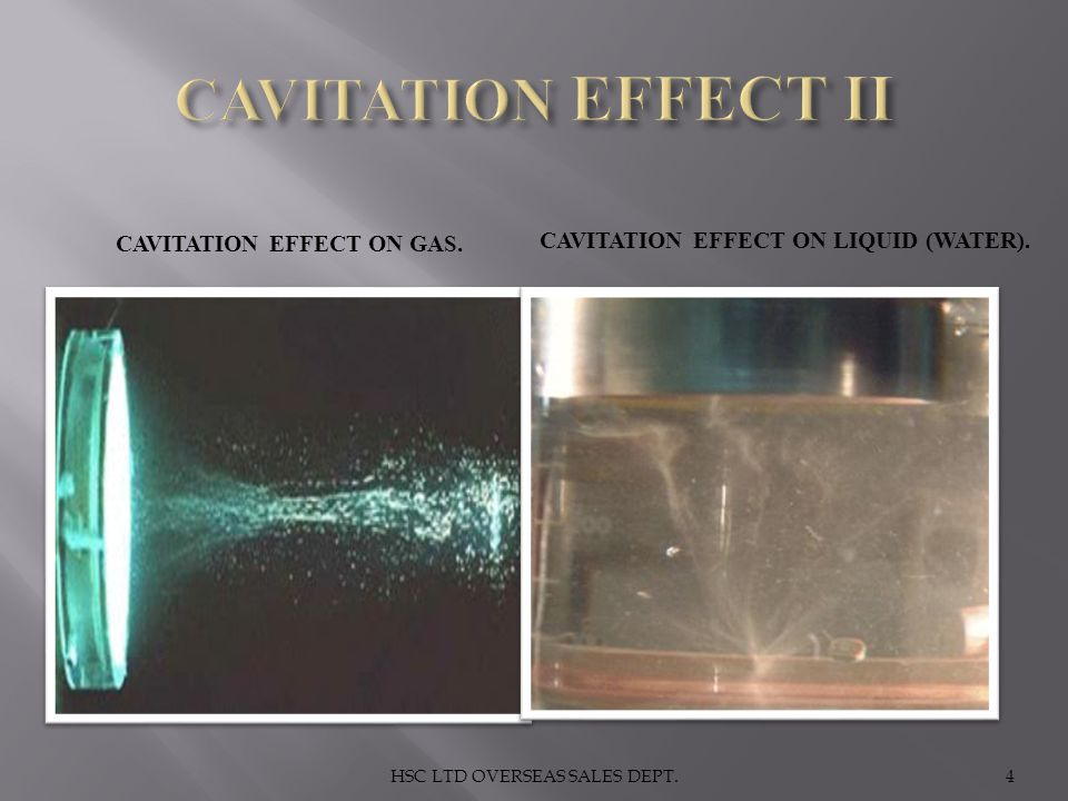 Cavitation effect on gas. Cavitation effect on liquid (water).