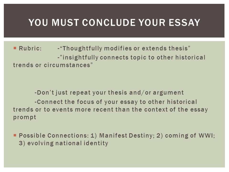 manifest destiny essay prompt Review chapter 12, the age of jackson, chapter 13, manifest destiny, and chapter 14, a new spirit of change look for causes that divided the nation choose the cause that interests you the most.