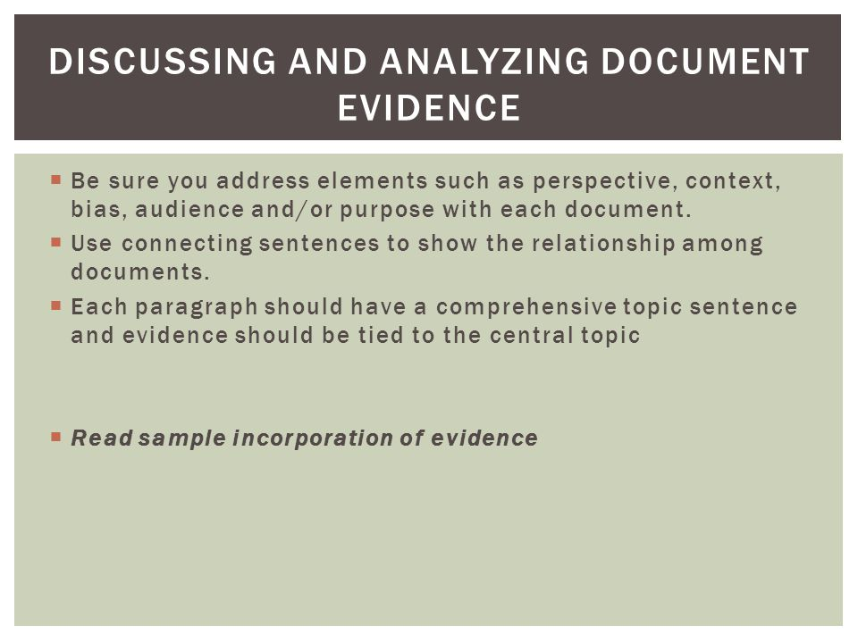 Discussing and Analyzing document Evidence