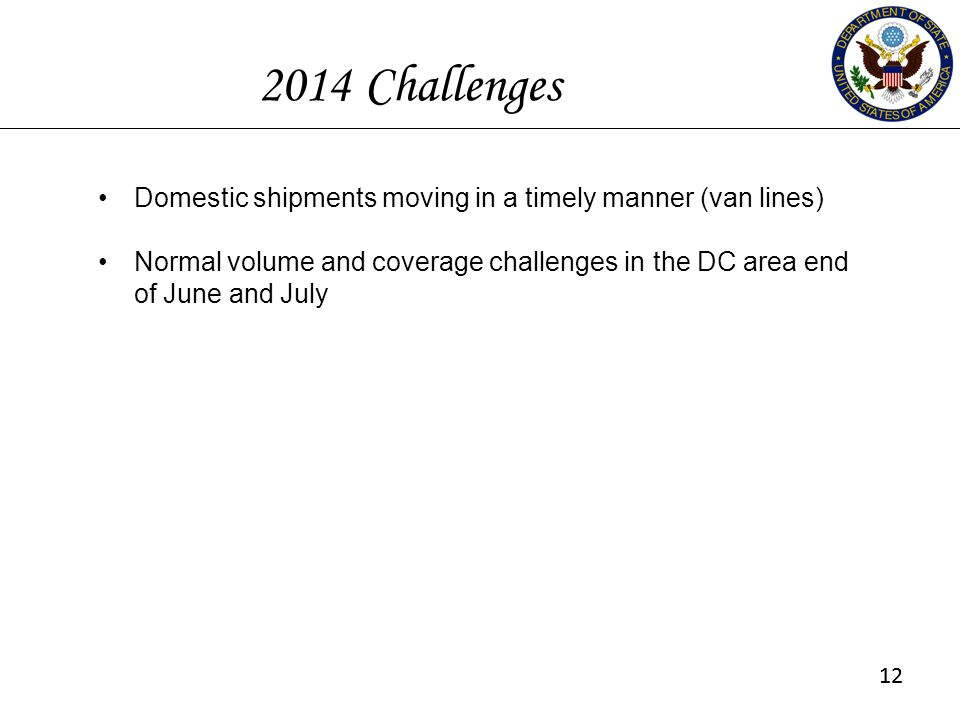 2014 Challenges Domestic shipments moving in a timely manner (van lines) Normal volume and coverage challenges in the DC area end of June and July.