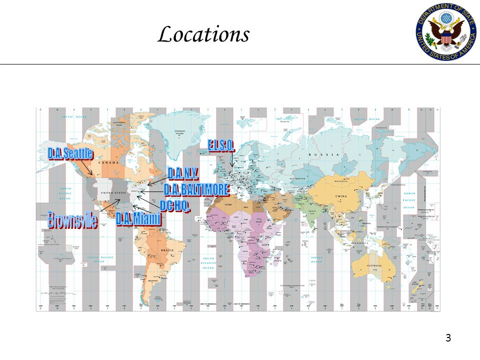 Locations 3 3 E.L.S.O. D.A. Seattle D.A. N.Y. D.A. BALTIMORE DC HQ.