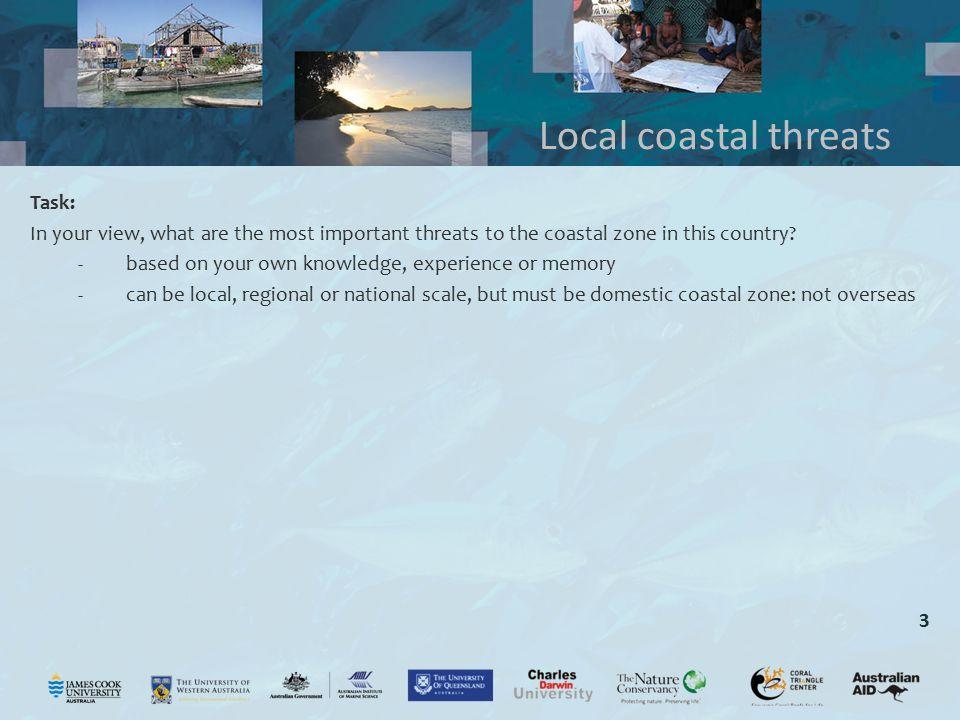 Local coastal threats Task: