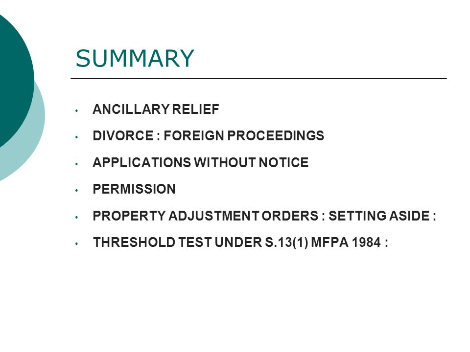 SUMMARY ANCILLARY RELIEF DIVORCE : FOREIGN PROCEEDINGS