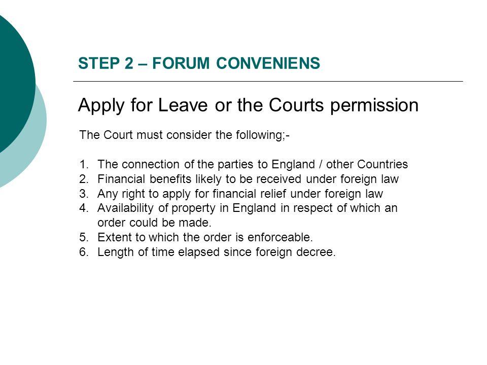 STEP 2 – FORUM CONVENIENS