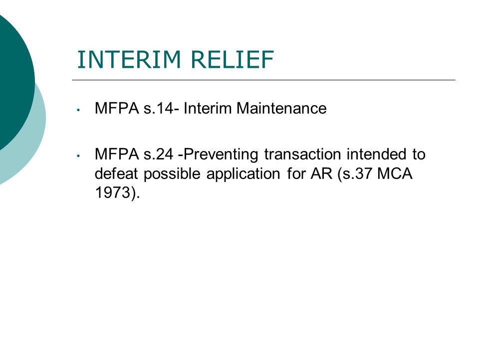 INTERIM RELIEF MFPA s.14- Interim Maintenance
