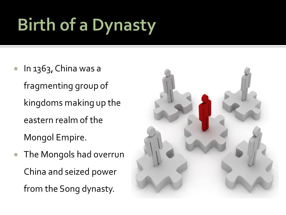 Birth of a Dynasty In 1363, China was a fragmenting group of kingdoms making up the eastern realm of the Mongol Empire.