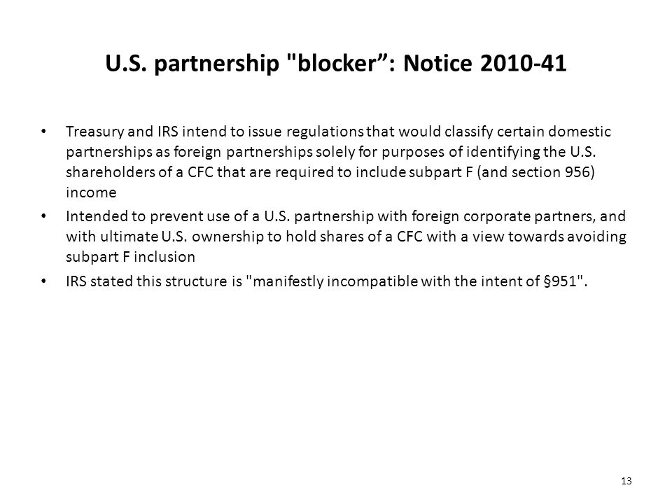 U.S. partnership blocker : Notice 2010-41