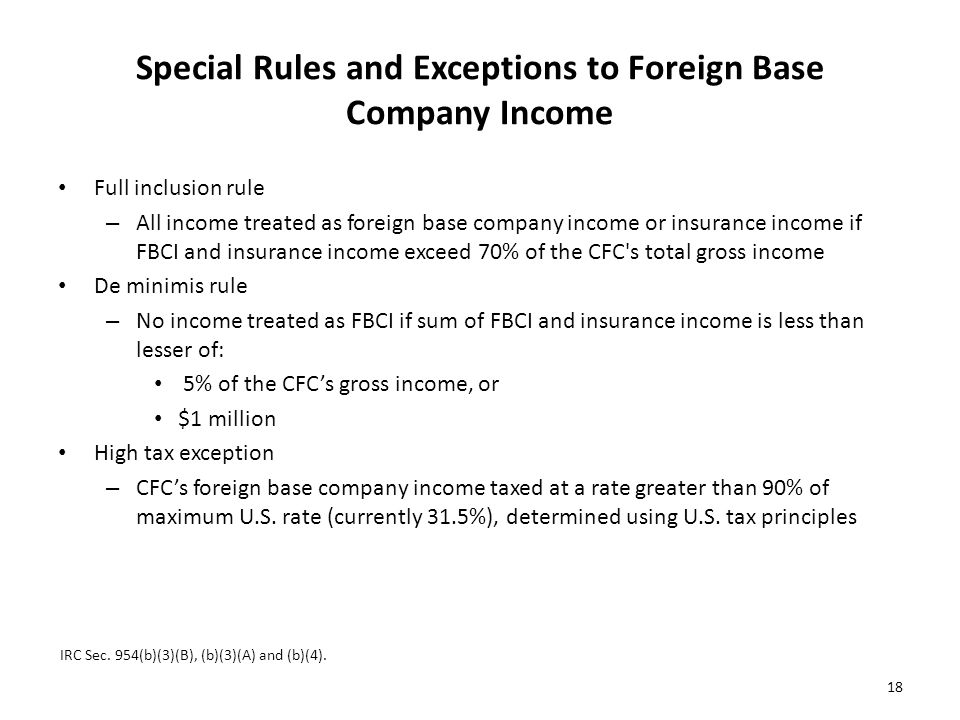 Special Rules and Exceptions to Foreign Base Company Income