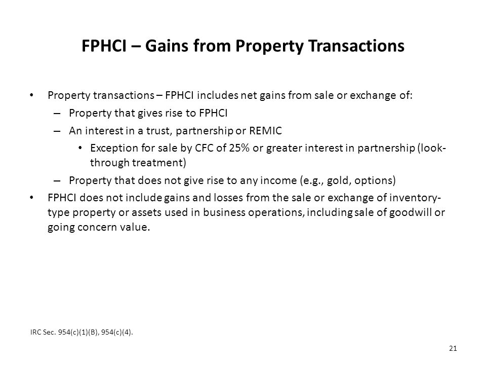 FPHCI – Gains from Property Transactions