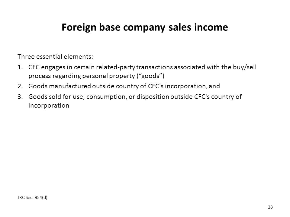 Foreign base company sales income
