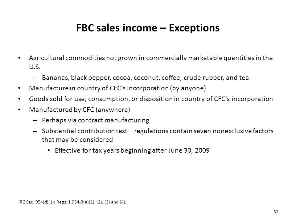 FBC sales income – Exceptions