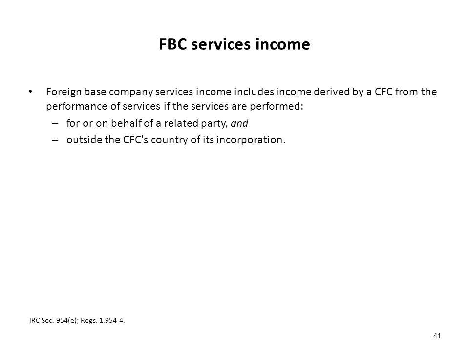 FBC services income
