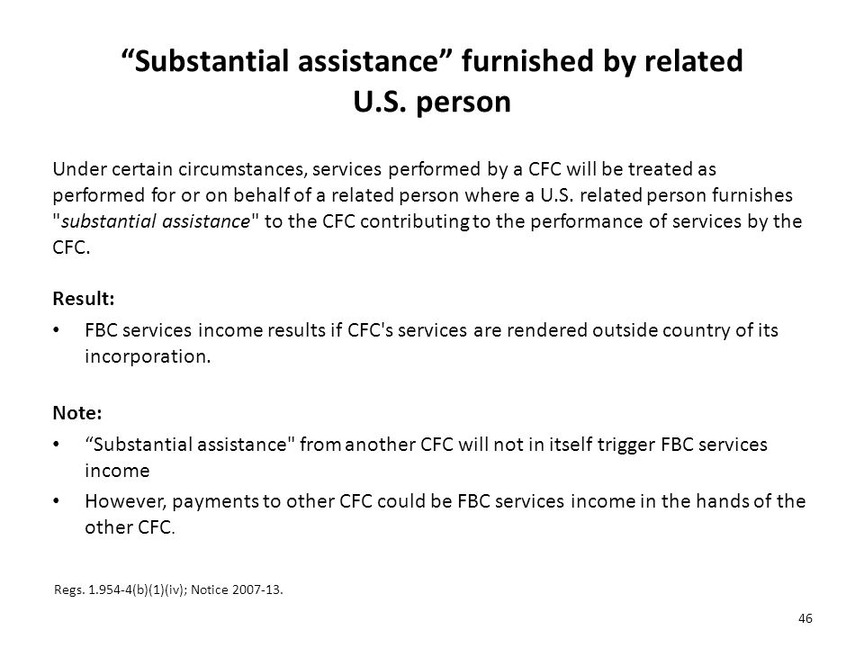 Substantial assistance furnished by related U.S. person