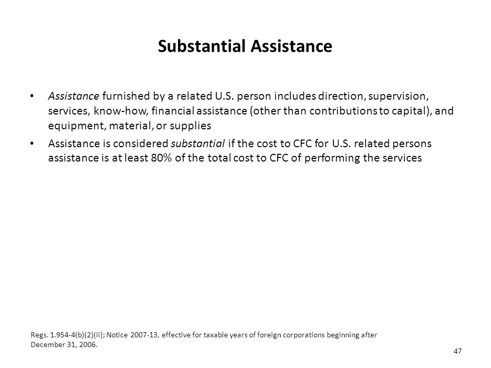 Substantial Assistance