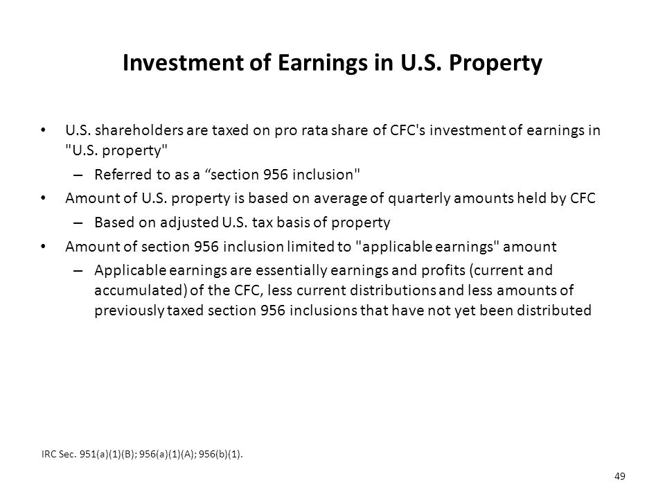Investment of Earnings in U.S. Property