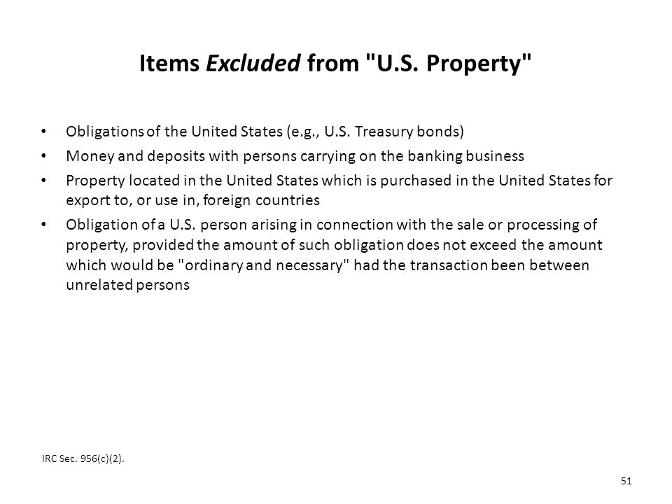 Items Excluded from U.S. Property