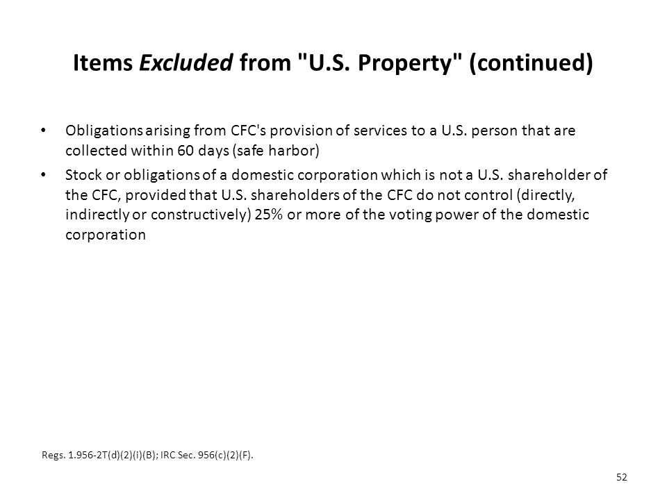 Items Excluded from U.S. Property (continued)