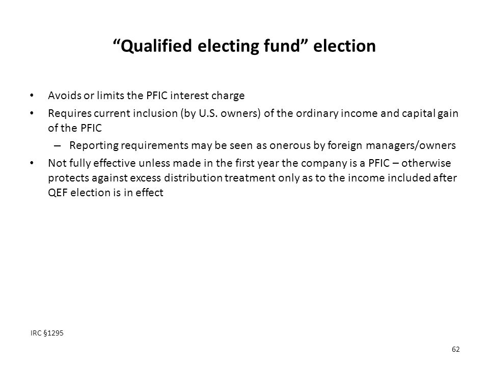 Qualified electing fund election