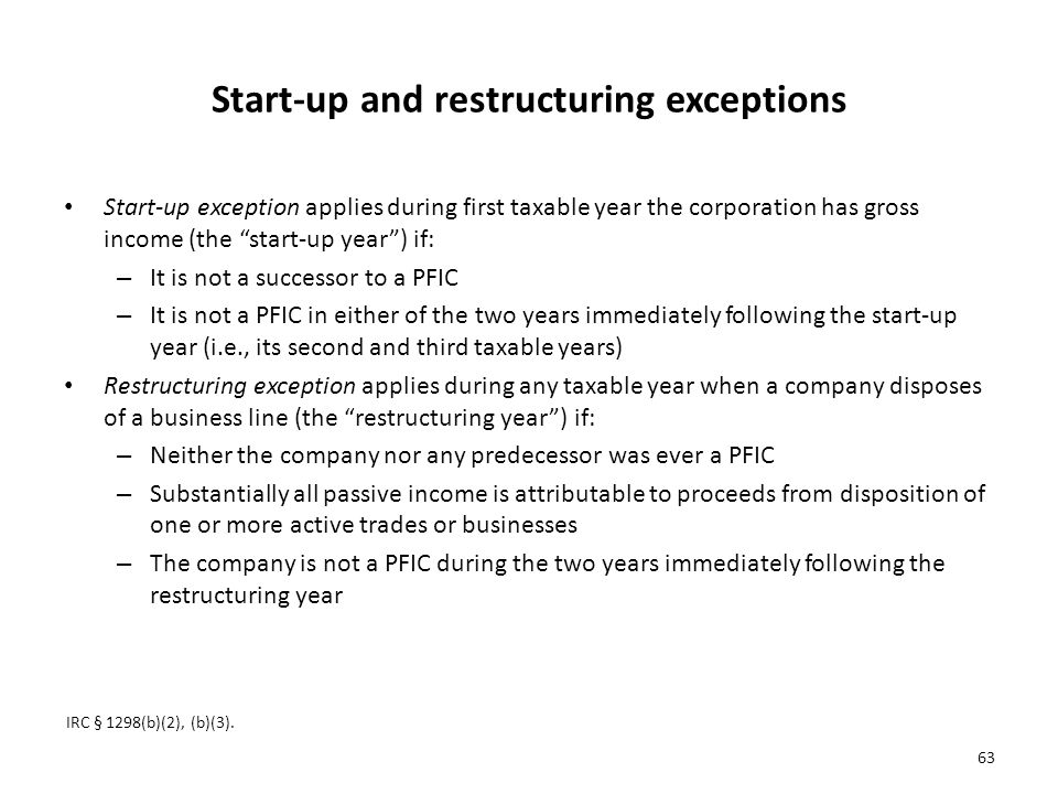 Start-up and restructuring exceptions