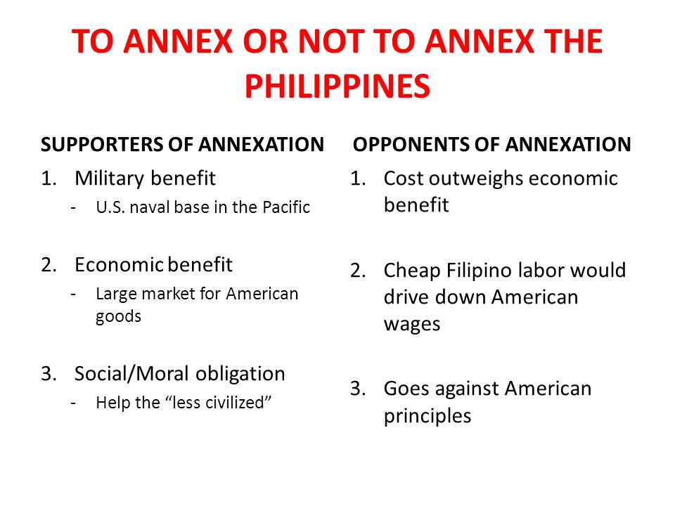 TO ANNEX OR NOT TO ANNEX THE PHILIPPINES