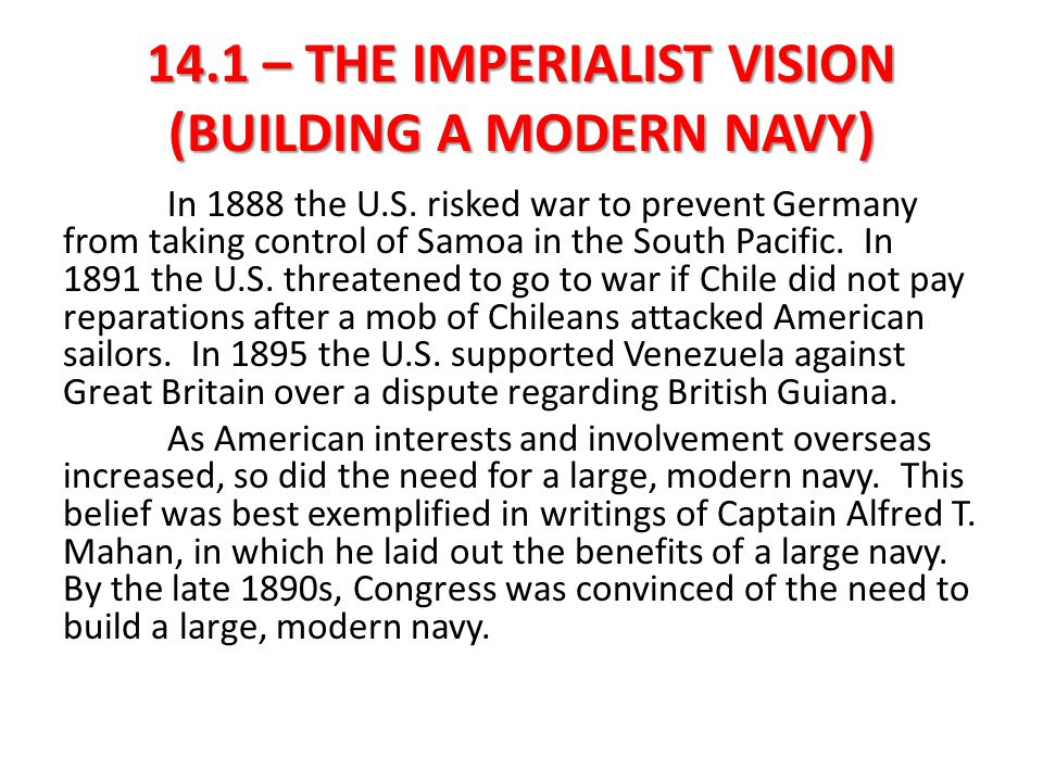 14.1 – THE IMPERIALIST VISION (BUILDING A MODERN NAVY)