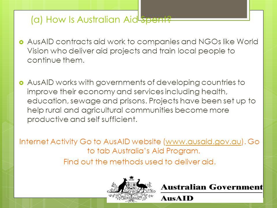 (a) How Is Australian Aid Spent