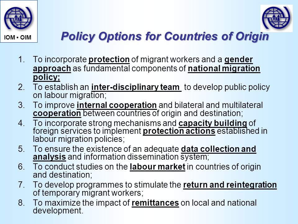 Policy Options for Countries of Origin