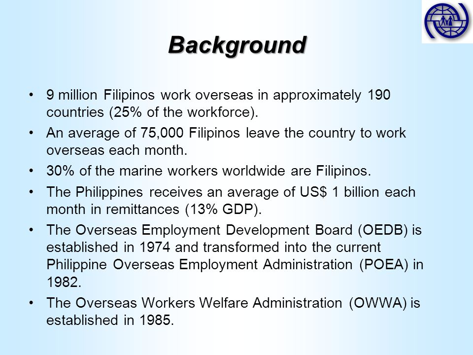 Background 9 million Filipinos work overseas in approximately 190 countries (25% of the workforce).