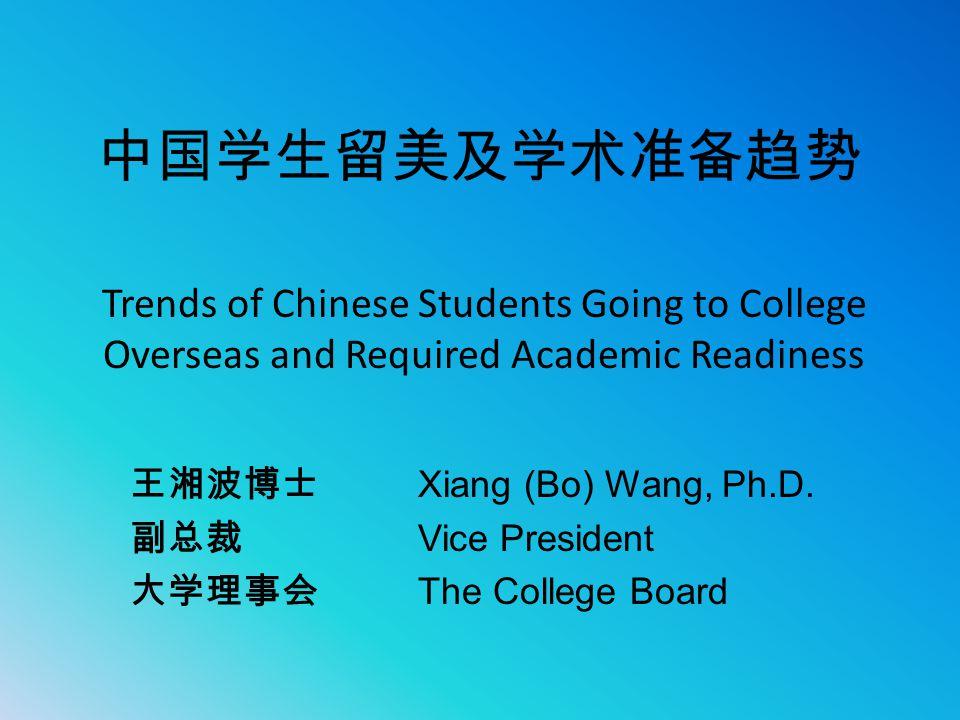 中国学生留美及学术准备趋势 Trends of Chinese Students Going to College Overseas and Required Academic Readiness.