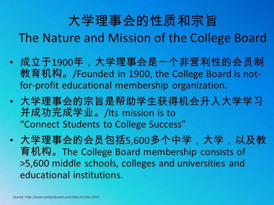 大学理事会的性质和宗旨 The Nature and Mission of the College Board