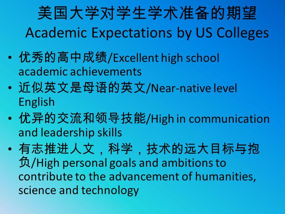 美国大学对学生学术准备的期望Academic Expectations by US Colleges